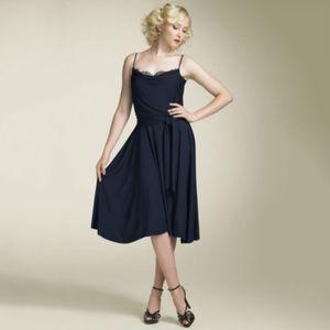 dvf • ravine black peekaboo lace fit & flare dress
